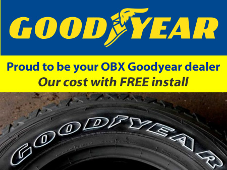Outer Banks OBX Goodyear Tire Tires Dealer Our Cost with $5.00 install